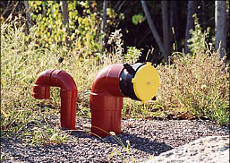 Picture of a dry hydrant installed in an underground tank.